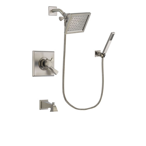 Delta Dryden Stainless Steel Finish Dual Control Tub and Shower Faucet System Package with 6.5-inch Square Rain Showerhead and Wall-Mount Handheld Shower Stick Includes Rough-in Valve and Tub Spout DSP2195V