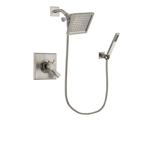 Delta Dryden Stainless Steel Finish Dual Control Shower Faucet System Package with 6.5-inch Square Rain Showerhead and Wall-Mount Handheld Shower Stick Includes Rough-in Valve DSP2196V
