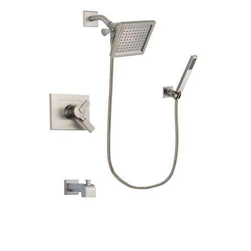 Delta Vero Stainless Steel Finish Dual Control Tub and Shower Faucet System Package with 6.5-inch Square Rain Showerhead and Wall-Mount Handheld Shower Stick Includes Rough-in Valve and Tub Spout DSP2197V