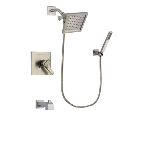 Delta Arzo Stainless Steel Finish Dual Control Tub and Shower Faucet System Package with 6.5-inch Square Rain Showerhead and Wall-Mount Handheld Shower Stick Includes Rough-in Valve and Tub Spout DSP2199V