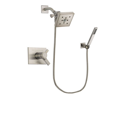 Delta Vero Stainless Steel Finish Thermostatic Shower Faucet System Package with Square Shower Head and Wall-Mount Handheld Shower Stick Includes Rough-in Valve DSP2204V