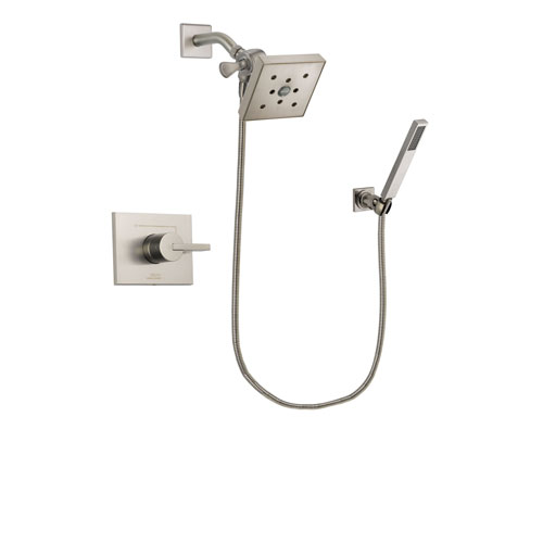 Delta Vero Stainless Steel Finish Shower Faucet System Package with Square Shower Head and Wall-Mount Handheld Shower Stick Includes Rough-in Valve DSP2210V