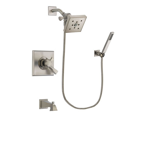 Delta Dryden Stainless Steel Finish Dual Control Tub and Shower Faucet System Package with Square Shower Head and Wall-Mount Handheld Shower Stick Includes Rough-in Valve and Tub Spout DSP2213V