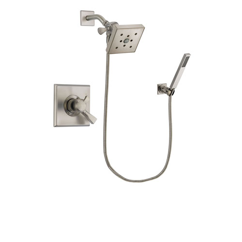 Delta Dryden Stainless Steel Finish Dual Control Shower Faucet System Package with Square Shower Head and Wall-Mount Handheld Shower Stick Includes Rough-in Valve DSP2214V