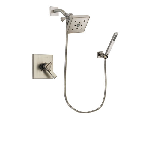 Delta Arzo Stainless Steel Finish Dual Control Shower Faucet System Package with Square Shower Head and Wall-Mount Handheld Shower Stick Includes Rough-in Valve DSP2218V