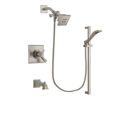 Delta Dryden Stainless Steel Finish Thermostatic Tub and Shower Faucet System Package with Square Showerhead and Handheld Shower with Slide Bar Includes Rough-in Valve and Tub Spout DSP2219V