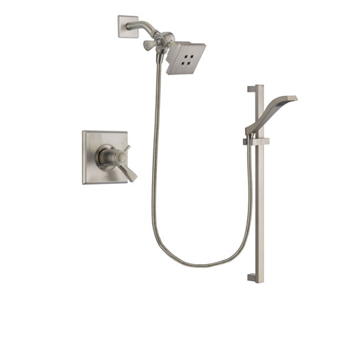 Delta Dryden Stainless Steel Finish Thermostatic Shower Faucet System Package with Square Showerhead and Handheld Shower with Slide Bar Includes Rough-in Valve DSP2220V