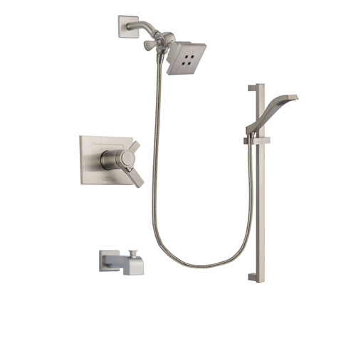 Delta Vero Stainless Steel Finish Thermostatic Tub and Shower Faucet System Package with Square Showerhead and Handheld Shower with Slide Bar Includes Rough-in Valve and Tub Spout DSP2221V
