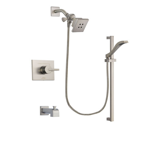 Delta Vero Stainless Steel Finish Tub and Shower Faucet System Package with Square Showerhead and Handheld Shower with Slide Bar Includes Rough-in Valve and Tub Spout DSP2227V