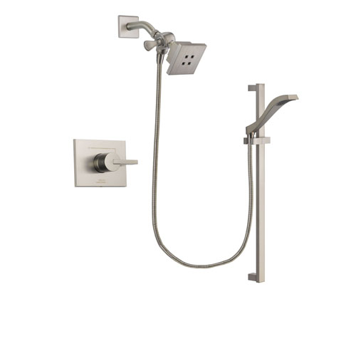 Delta Vero Stainless Steel Finish Shower Faucet System Package with Square Showerhead and Handheld Shower with Slide Bar Includes Rough-in Valve DSP2228V