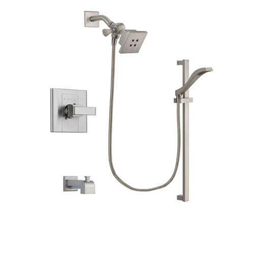 Delta Arzo Stainless Steel Finish Tub and Shower Faucet System Package with Square Showerhead and Handheld Shower with Slide Bar Includes Rough-in Valve and Tub Spout DSP2229V