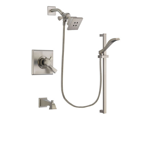 Delta Dryden Stainless Steel Finish Dual Control Tub and Shower Faucet System Package with Square Showerhead and Handheld Shower with Slide Bar Includes Rough-in Valve and Tub Spout DSP2231V