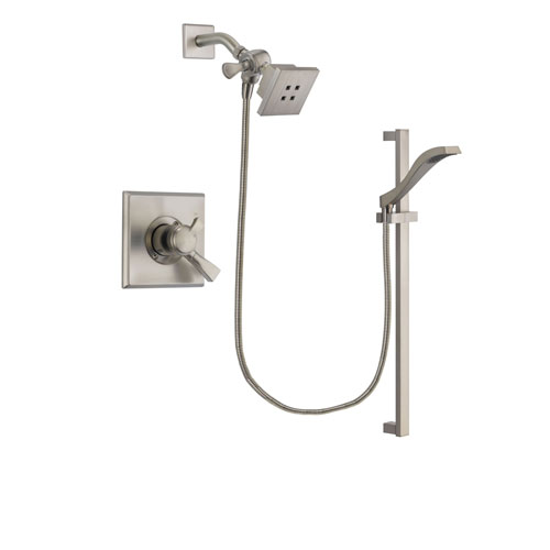 Delta Dryden Stainless Steel Finish Dual Control Shower Faucet System Package with Square Showerhead and Handheld Shower with Slide Bar Includes Rough-in Valve DSP2232V