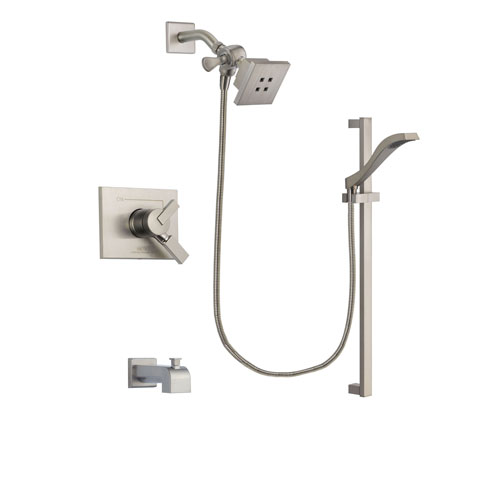 Delta Vero Stainless Steel Finish Dual Control Tub and Shower Faucet System Package with Square Showerhead and Handheld Shower with Slide Bar Includes Rough-in Valve and Tub Spout DSP2233V