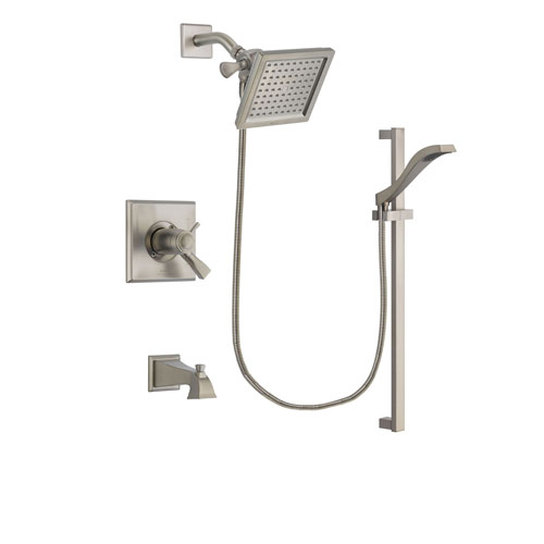 Delta Dryden Stainless Steel Finish Thermostatic Tub and Shower Faucet System Package with 6.5-inch Square Rain Showerhead and Handheld Shower with Slide Bar Includes Rough-in Valve and Tub Spout DSP2237V