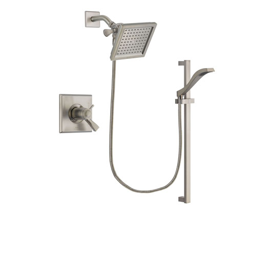 Delta Dryden Stainless Steel Finish Thermostatic Shower Faucet System Package with 6.5-inch Square Rain Showerhead and Handheld Shower with Slide Bar Includes Rough-in Valve DSP2238V