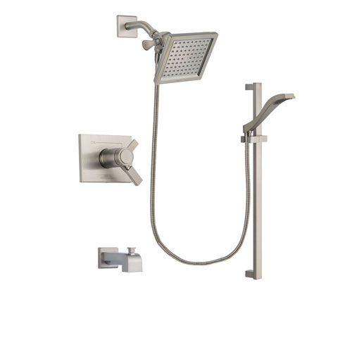 Delta Vero Stainless Steel Finish Thermostatic Tub and Shower Faucet System Package with 6.5-inch Square Rain Showerhead and Handheld Shower with Slide Bar Includes Rough-in Valve and Tub Spout DSP2239V