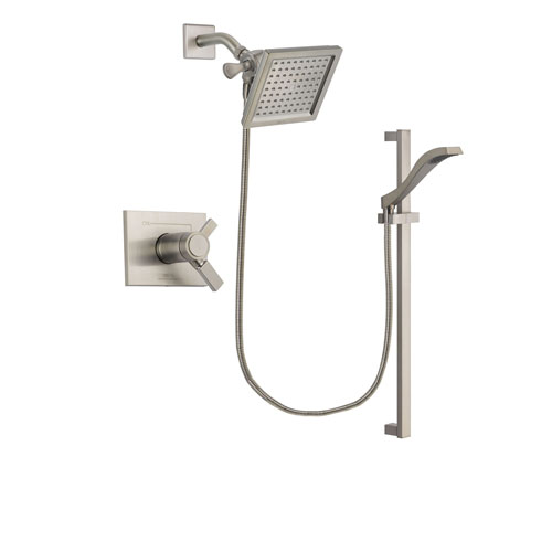 Delta Vero Stainless Steel Finish Thermostatic Shower Faucet System Package with 6.5-inch Square Rain Showerhead and Handheld Shower with Slide Bar Includes Rough-in Valve DSP2240V