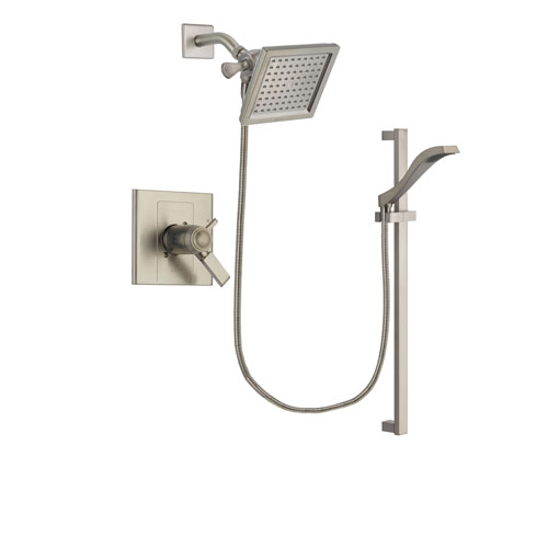 Delta Arzo Stainless Steel Finish Thermostatic Shower Faucet System Package with 6.5-inch Square Rain Showerhead and Handheld Shower with Slide Bar Includes Rough-in Valve DSP2242V