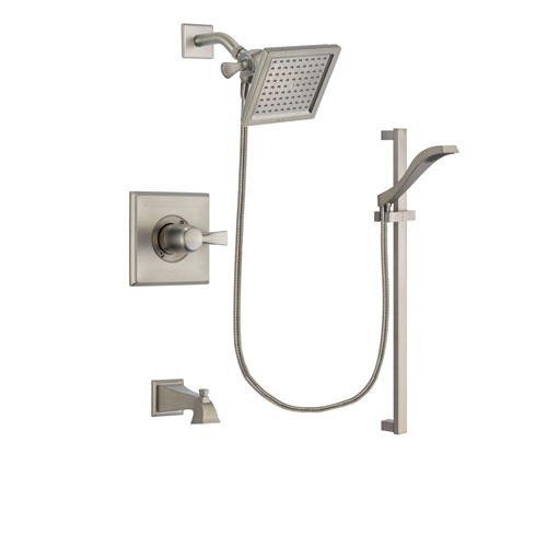 Delta Dryden Stainless Steel Finish Tub and Shower Faucet System Package with 6.5-inch Square Rain Showerhead and Handheld Shower with Slide Bar Includes Rough-in Valve and Tub Spout DSP2243V