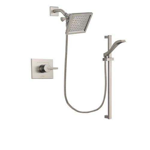 Delta Vero Stainless Steel Finish Shower Faucet System Package with 6.5-inch Square Rain Showerhead and Handheld Shower with Slide Bar Includes Rough-in Valve DSP2246V