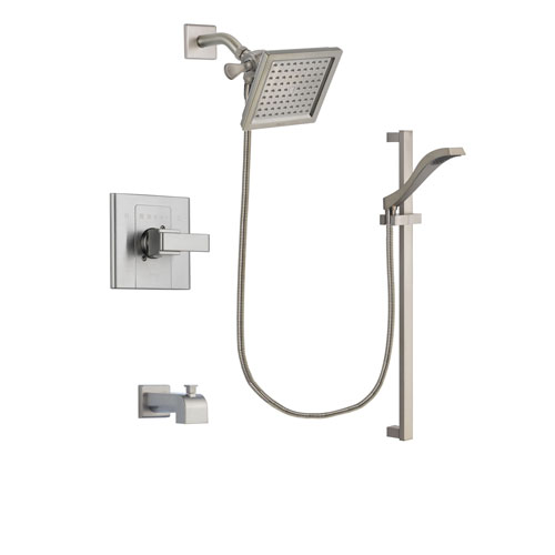 Delta Arzo Stainless Steel Finish Tub and Shower Faucet System Package with 6.5-inch Square Rain Showerhead and Handheld Shower with Slide Bar Includes Rough-in Valve and Tub Spout DSP2247V