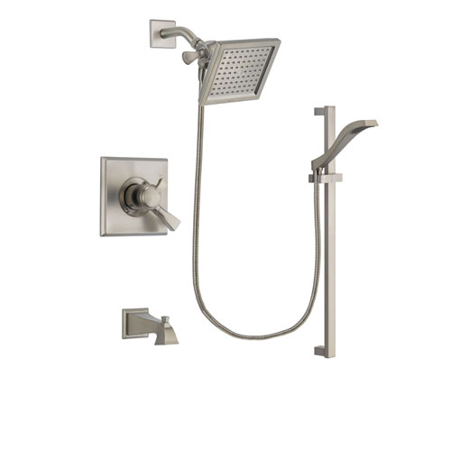 Delta Dryden Stainless Steel Finish Dual Control Tub and Shower Faucet System Package with 6.5-inch Square Rain Showerhead and Handheld Shower with Slide Bar Includes Rough-in Valve and Tub Spout DSP2249V