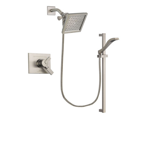 Delta Vero Stainless Steel Finish Dual Control Shower Faucet System Package with 6.5-inch Square Rain Showerhead and Handheld Shower with Slide Bar Includes Rough-in Valve DSP2252V