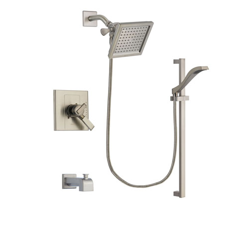 Delta Arzo Stainless Steel Finish Dual Control Tub and Shower Faucet System Package with 6.5-inch Square Rain Showerhead and Handheld Shower with Slide Bar Includes Rough-in Valve and Tub Spout DSP2253V