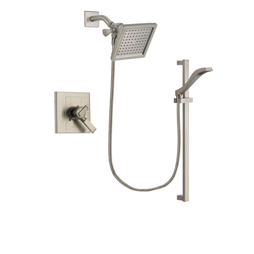 Delta Arzo Stainless Steel Finish Dual Control Shower Faucet System Package with 6.5-inch Square Rain Showerhead and Handheld Shower with Slide Bar Includes Rough-in Valve DSP2254V