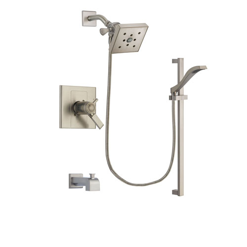 Delta Arzo Stainless Steel Finish Thermostatic Tub and Shower Faucet System Package with Square Shower Head and Handheld Shower with Slide Bar Includes Rough-in Valve and Tub Spout DSP2259V