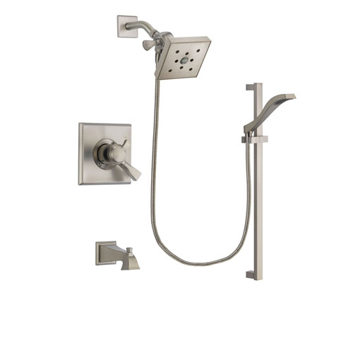Delta Dryden Stainless Steel Finish Dual Control Tub and Shower Faucet System Package with Square Shower Head and Handheld Shower with Slide Bar Includes Rough-in Valve and Tub Spout DSP2267V