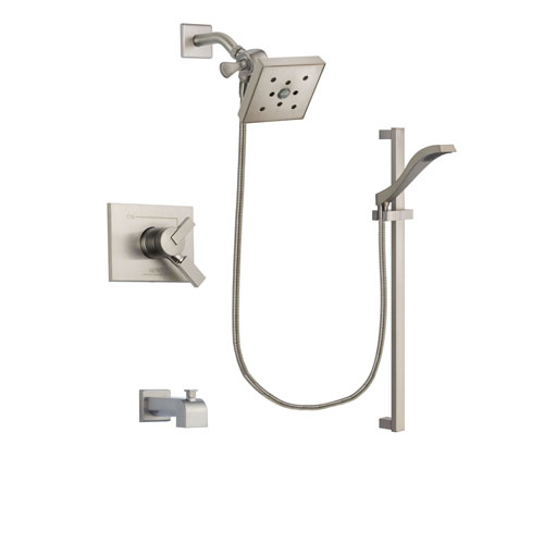 Delta Vero Stainless Steel Finish Dual Control Tub and Shower Faucet System Package with Square Shower Head and Handheld Shower with Slide Bar Includes Rough-in Valve and Tub Spout DSP2269V