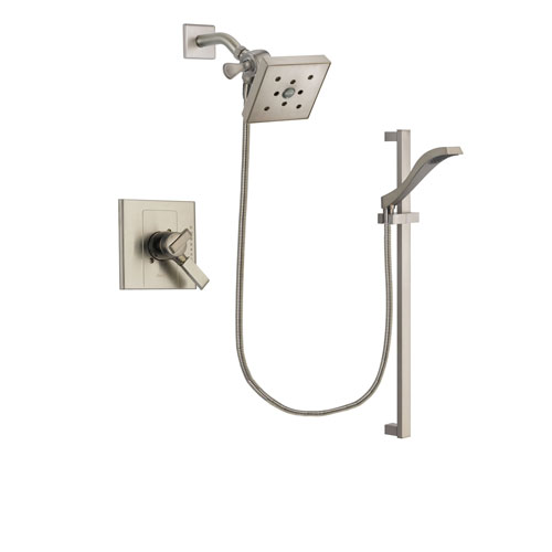 Delta Arzo Stainless Steel Finish Dual Control Shower Faucet System Package with Square Shower Head and Handheld Shower with Slide Bar Includes Rough-in Valve DSP2272V