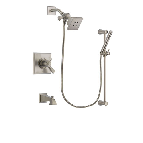 Delta Dryden Stainless Steel Finish Thermostatic Tub and Shower Faucet System Package with Square Showerhead and Handheld Shower Spray with Slide Bar Includes Rough-in Valve and Tub Spout DSP2273V