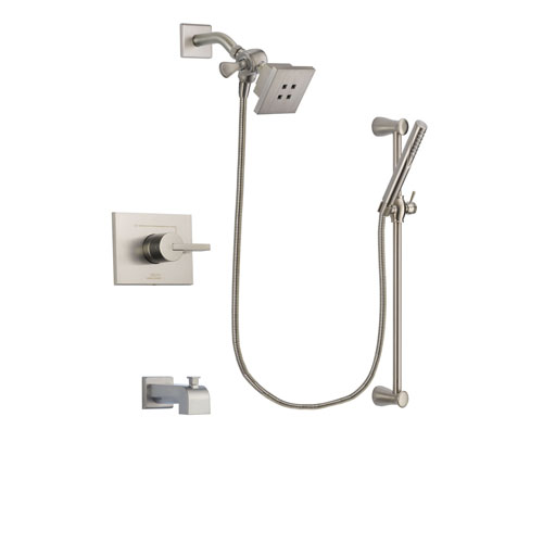 Delta Vero Stainless Steel Finish Tub and Shower Faucet System Package with Square Showerhead and Handheld Shower Spray with Slide Bar Includes Rough-in Valve and Tub Spout DSP2281V