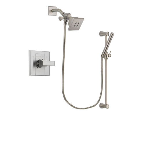 Delta Arzo Stainless Steel Finish Shower Faucet System Package with Square Showerhead and Handheld Shower Spray with Slide Bar Includes Rough-in Valve DSP2284V