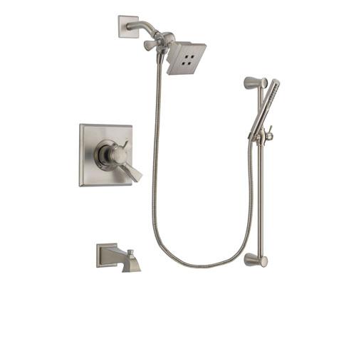 Delta Dryden Stainless Steel Finish Dual Control Tub and Shower Faucet System Package with Square Showerhead and Handheld Shower Spray with Slide Bar Includes Rough-in Valve and Tub Spout DSP2285V