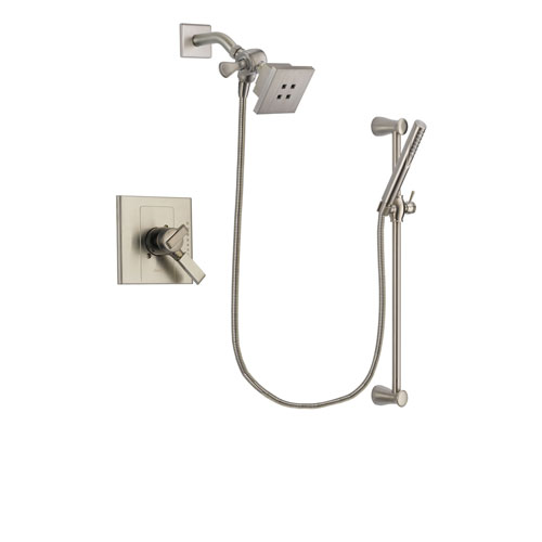 Delta Arzo Stainless Steel Finish Dual Control Shower Faucet System Package with Square Showerhead and Handheld Shower Spray with Slide Bar Includes Rough-in Valve DSP2290V