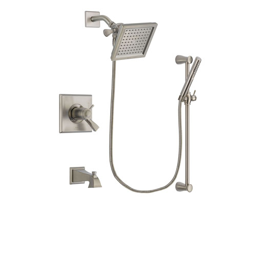 Delta Dryden Stainless Steel Finish Thermostatic Tub and Shower Faucet System Package with 6.5-inch Square Rain Showerhead and Handheld Shower Spray with Slide Bar Includes Rough-in Valve and Tub Spout DSP2291V