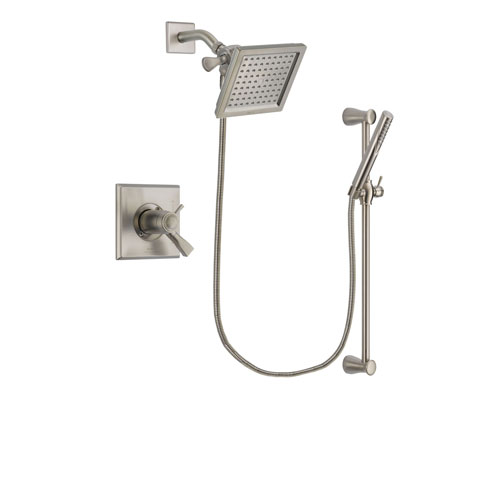 Delta Dryden Stainless Steel Finish Thermostatic Shower Faucet System Package with 6.5-inch Square Rain Showerhead and Handheld Shower Spray with Slide Bar Includes Rough-in Valve DSP2292V