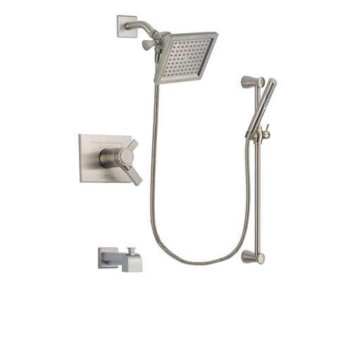 Delta Vero Stainless Steel Finish Thermostatic Tub and Shower Faucet System Package with 6.5-inch Square Rain Showerhead and Handheld Shower Spray with Slide Bar Includes Rough-in Valve and Tub Spout DSP2293V