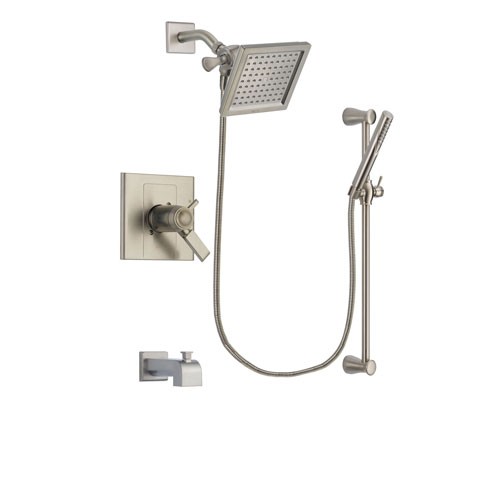 Delta Arzo Stainless Steel Finish Thermostatic Tub and Shower Faucet System Package with 6.5-inch Square Rain Showerhead and Handheld Shower Spray with Slide Bar Includes Rough-in Valve and Tub Spout DSP2295V