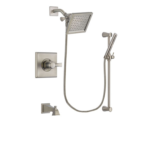 Delta Dryden Stainless Steel Finish Tub and Shower Faucet System Package with 6.5-inch Square Rain Showerhead and Handheld Shower Spray with Slide Bar Includes Rough-in Valve and Tub Spout DSP2297V
