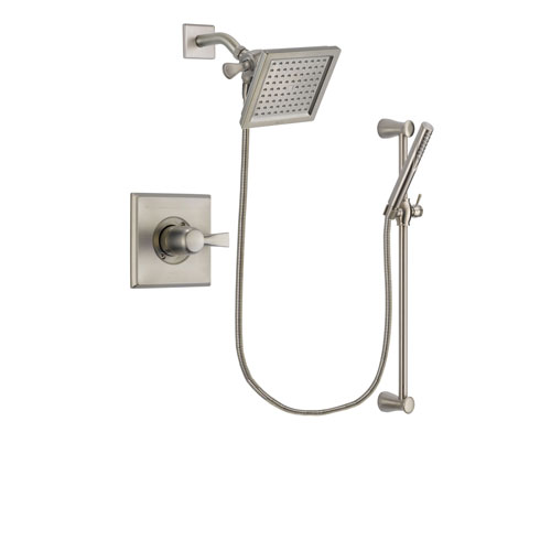 Delta Dryden Stainless Steel Finish Shower Faucet System Package with 6.5-inch Square Rain Showerhead and Handheld Shower Spray with Slide Bar Includes Rough-in Valve DSP2298V