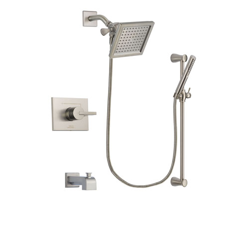 Delta Vero Stainless Steel Finish Tub and Shower Faucet System Package with 6.5-inch Square Rain Showerhead and Handheld Shower Spray with Slide Bar Includes Rough-in Valve and Tub Spout DSP2299V