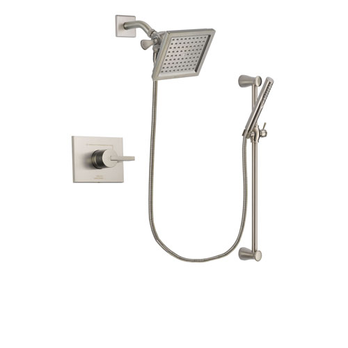 Delta Vero Stainless Steel Finish Shower Faucet System Package with 6.5-inch Square Rain Showerhead and Handheld Shower Spray with Slide Bar Includes Rough-in Valve DSP2300V