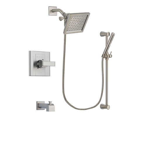 Delta Arzo Stainless Steel Finish Tub and Shower Faucet System Package with 6.5-inch Square Rain Showerhead and Handheld Shower Spray with Slide Bar Includes Rough-in Valve and Tub Spout DSP2301V