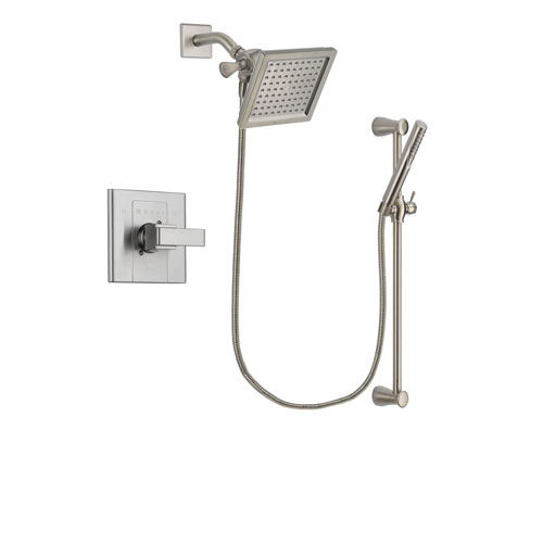 Delta Arzo Stainless Steel Finish Shower Faucet System Package with 6.5-inch Square Rain Showerhead and Handheld Shower Spray with Slide Bar Includes Rough-in Valve DSP2302V