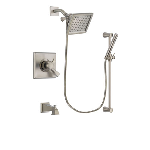 Delta Dryden Stainless Steel Finish Dual Control Tub and Shower Faucet System Package with 6.5-inch Square Rain Showerhead and Handheld Shower Spray with Slide Bar Includes Rough-in Valve and Tub Spout DSP2303V